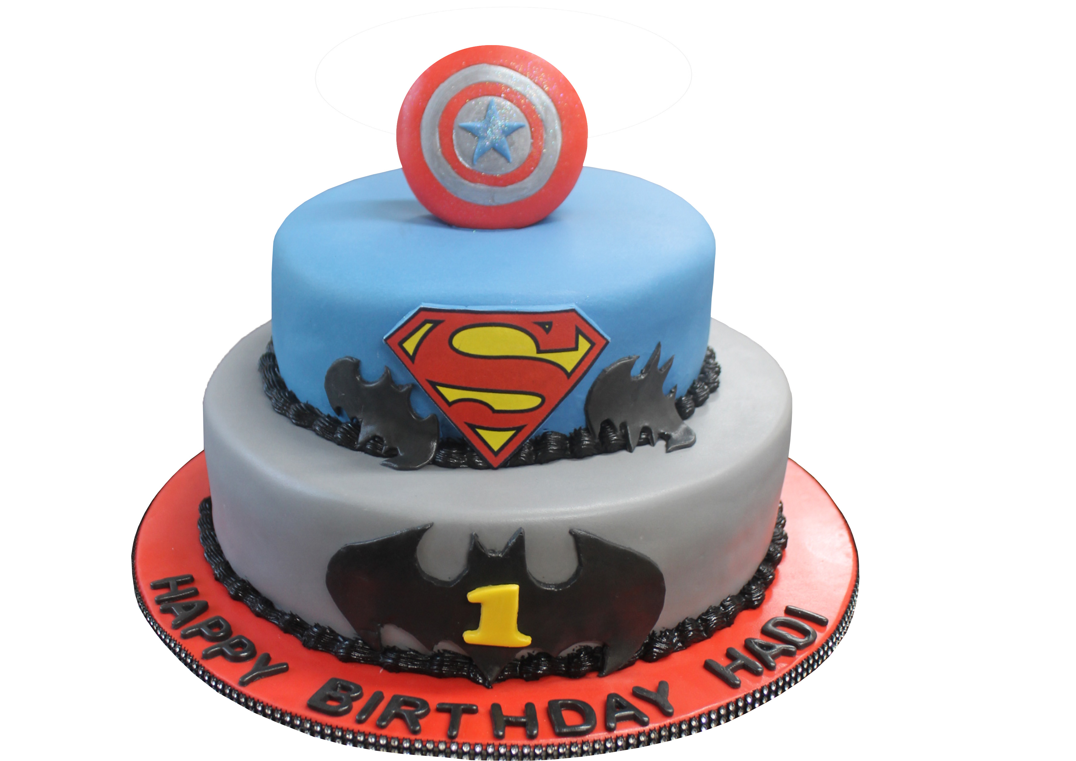 Amazing Marvel X Dc 2 Tier Cake B15 Bismillah Bakery Funny Birthday Cards Online Elaedamsfinfo